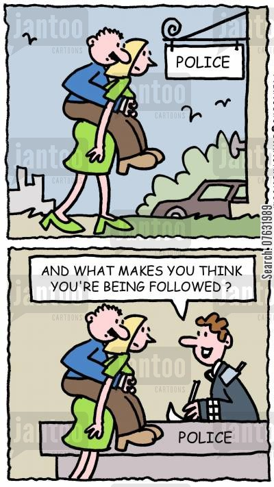 piggy backs cartoon humor: Police - And what makes you think you're being followed?
