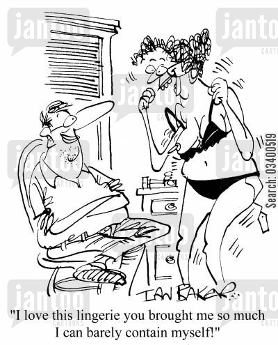 appreciative cartoon humor: I love this lingerie you bought me so much that I can barely contain myself!
