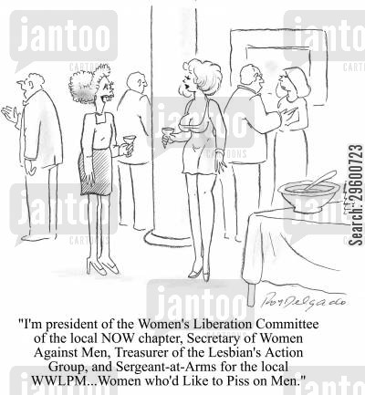 feminist cartoon humor: 'I'm the president of the Women's Liberation Committee of the local NOW chapter...'