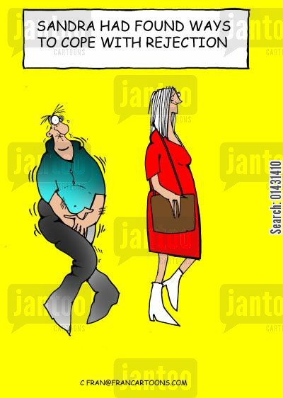 self defence cartoon humor: Sandra had found ways to cope with rejection.