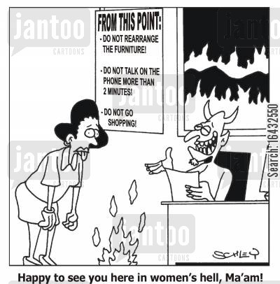 rearrange cartoon humor: Happy to see you here in women's hell, Ma'am!