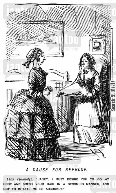 prudent cartoon humor: Lady who thinks a servant girl has tried to imitate her curls.