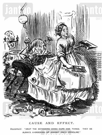 petticoats cartoon humor: A women with a stiff crinoline knocking over cups and saucers