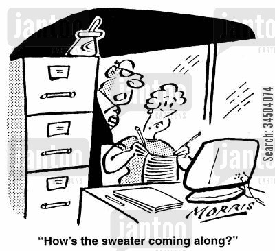 sweater cartoon humor: How's the sweater coming along?