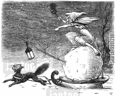 sleigh ride cartoon humor: Woman riding a sleigh pulled by a black cat