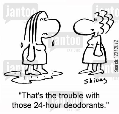 perspiration cartoon humor: 'That's the trouble with those 24-hour deodorants.'
