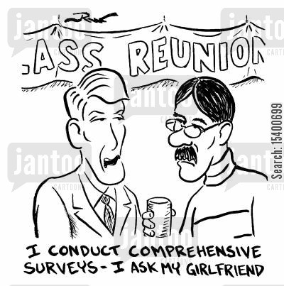 reunion cartoon humor: I conduct comprehensive surveys - I ask my girlfriend.