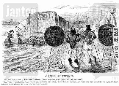 bathing machine cartoon humor: Women bathing at the seaside