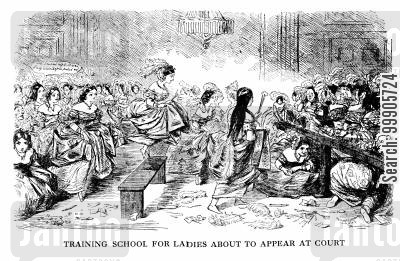 training schools cartoon humor: Training School For Ladies About to Appear At Court