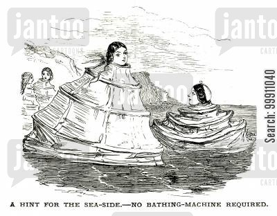 bathing machine cartoon humor: Ladies using thier cage crinolines as bathing machines