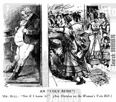 suffrage cartoon humor: Division on the Women's Vote Bill