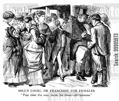 debate on the reform bill cartoon humor: Suffrage - Franchise for Females