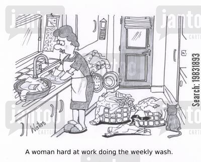 doing laundry cartoon humor: A woman hard at work doing the weekly wash.