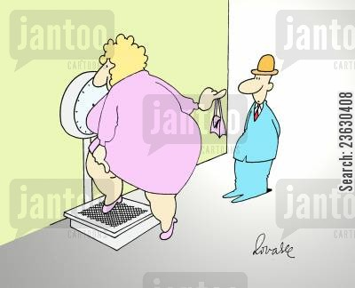 fat woman cartoon humor: fat woman passed her handbag to husband before getting weighed.