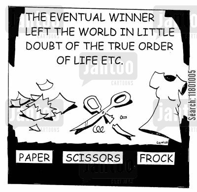 superficial cartoon humor: Paper Scissors Frock