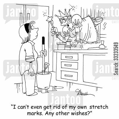 godmother cartoon humor: 'I can't even get rid of my own stretch marks. Any other wishes?'