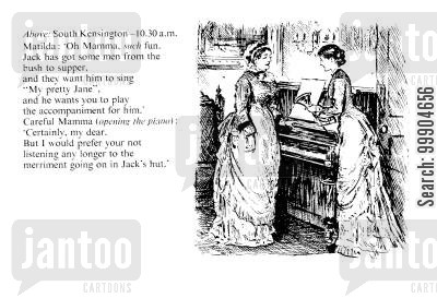 victorian home cartoon humor: Victorian mother and daughter.