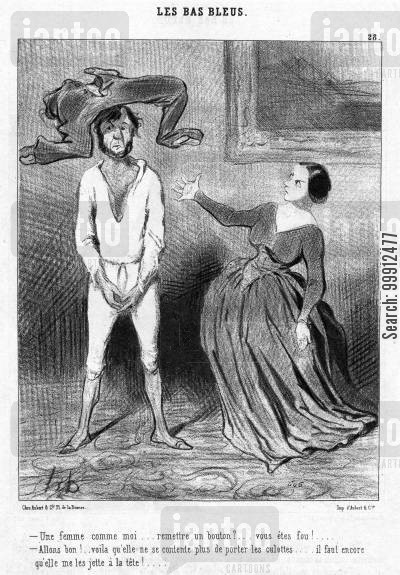 women's roles cartoon humor: Blue Stockings - Wife refusing to sew a button onto her husband's breeches