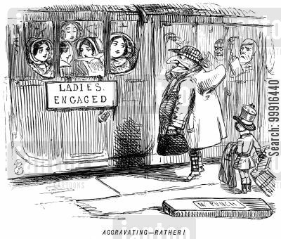 railway station cartoon humor: Mr Punch looking at an 'engaged' sign on a ladies' train carriage