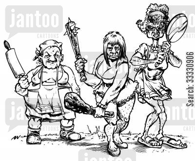 scary cartoon humor: Mad ugly women with clubs and other weapons in hand.