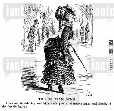 corset cartoon humor: The Grecian Bend - Women's Fashion