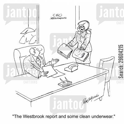 delivered cartoon humor: 'The Westbrook report and some clean underwear.'