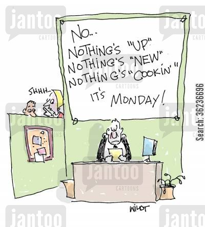 inane question cartoon humor: Cranky man won't answer inane questions on Monday.