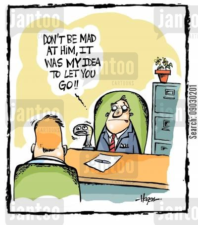 schizoprenia cartoon humor: 'Don't be mad at him, it was MY idea to let you go!!'