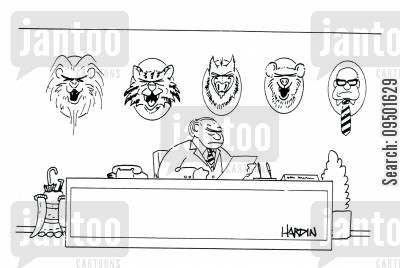 animal heads cartoon humor: Boss with various animal heads on wall, one is a man.