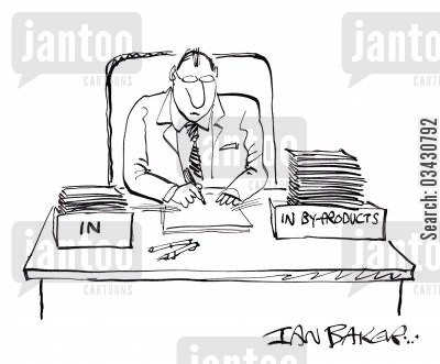 desk boxes cartoon humor: InIn by-products.