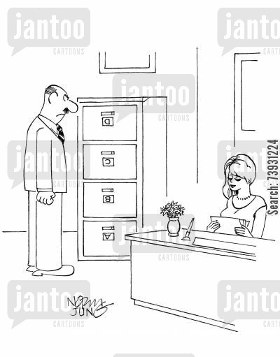 cabinets cartoon humor: Boss discovers his secretary has put the drawers of the file cabinet upside down.