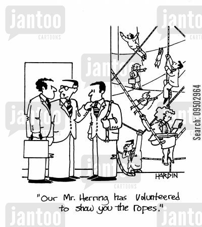 flying trapeze artist cartoon humor: 'Our Mr. Herring has volunteered to show you the ropes.'
