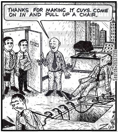 pull cartoon humor: 'Thanks for making it guys. Come on in and pull up a chair.' A square hole in an office floor where chairs can be pulled up from