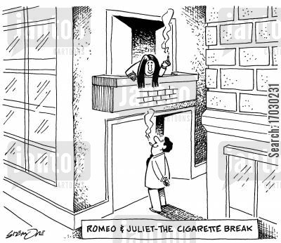 cigarette breaks cartoon humor: ROMEO & JULIET-THE CIGARETTE BREAK