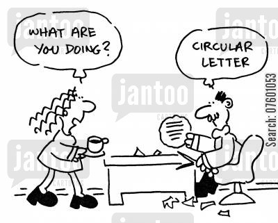 communiques cartoon humor: Man writing a circular letter.
