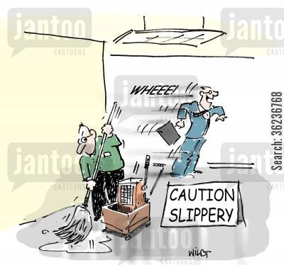 slides cartoon humor: Executive purposely slides on slippery floor.