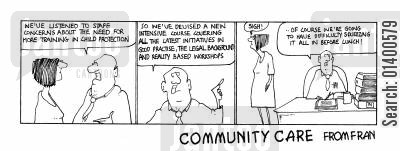 initiatives cartoon humor: STRIP *Community Care * Squeezing it all in before lunch