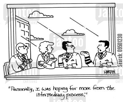 intermediary cartoon humor: Personally, I was hoping for more from the intermediary process.'
