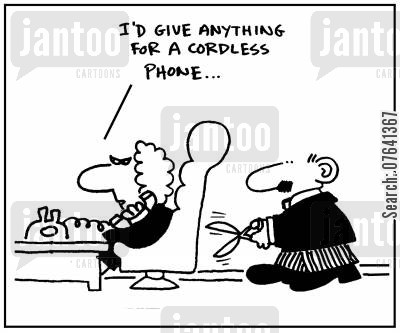 cordless phones cartoon humor: 'I'd give anything for a cordless phone.'
