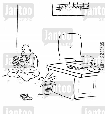 modernization cartoon humor: Business man reading 'Thinking Outside the Chair'