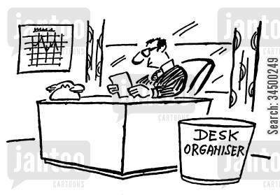 out tray cartoon humor: Litter BinDesk Organiser