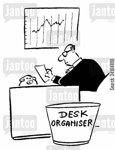 garbage pails cartoon humor: 'Desk organiserdustbin.