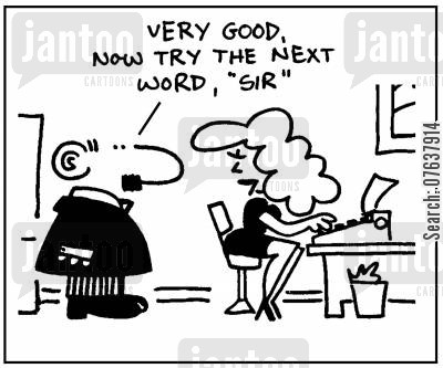 computer skills cartoon humor: 'Very good, now try the next word, sir.'