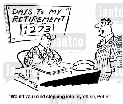 disloyalty cartoon humor: Would you mind stepping into my office, Potter.