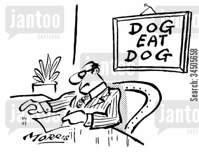 dog eat dog world cartoon humor: 'Dog eat dog.'