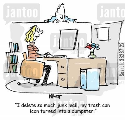 recycling bin cartoon humor: 'I delete so much junk mail, my trash can icon turned into a dumpster.'
