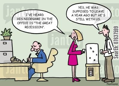 economic recoveries cartoon humor: 'His nickname in the office is the great recession.'