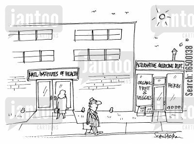 exercise programs cartoon humor: Institute of Health next to Alternative medicine dept