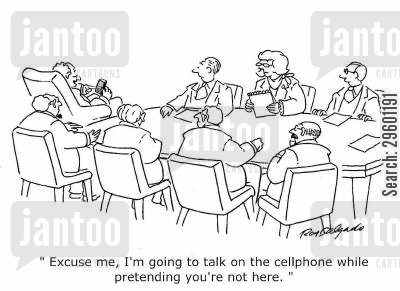 bad manners cartoon humor: 'Excuse me, I'm going to talk on the cellphone while pretending you're not here.'