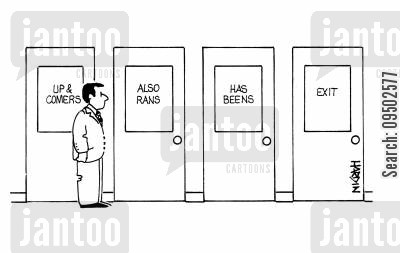 has beens cartoon humor: Doors marked 'Up and comers', 'Also rans', 'Has beens' and 'Exit'.